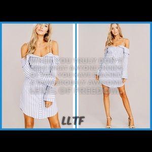 Striped Shirt Dress-BLUE/WHITE
